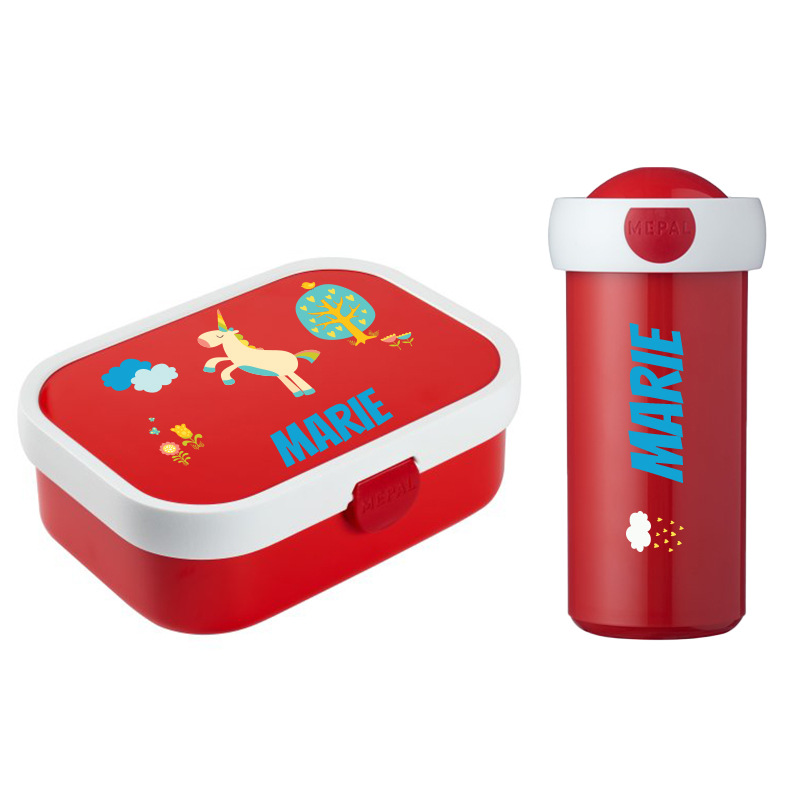 Mepal lunch box , fruit tray and cup with school name