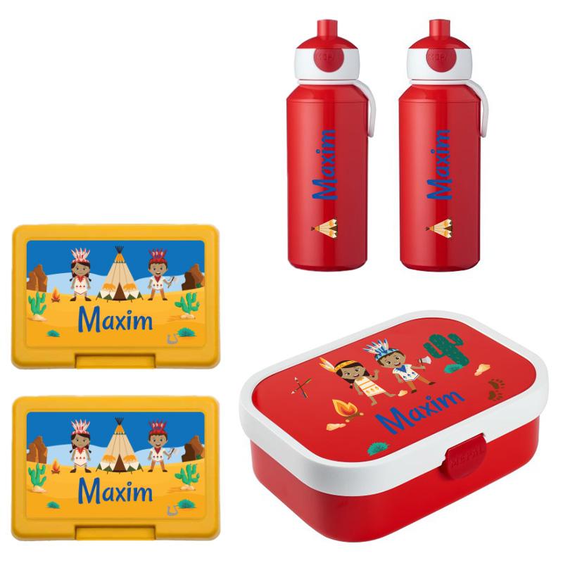 Mepal lunchbox , 2 x fruit/koekendoosje en 2 x popup drinkfles met naam 0,4l