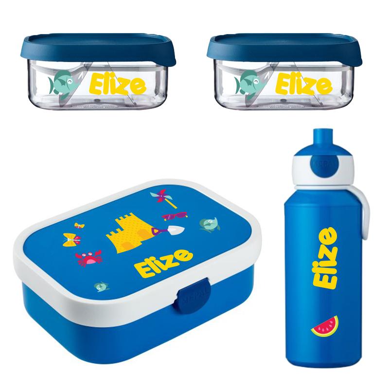 Mepal lunchbox , 2 x Mepal fruitbox en popup drinkfles met naam 0,4l
