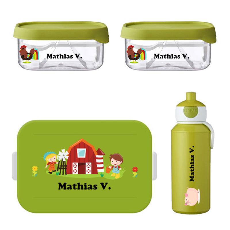 Mepal to go lunchbox midi (4 sneden), 2 x Mepal fruitbox en popup drinkfles met naam 0,4l