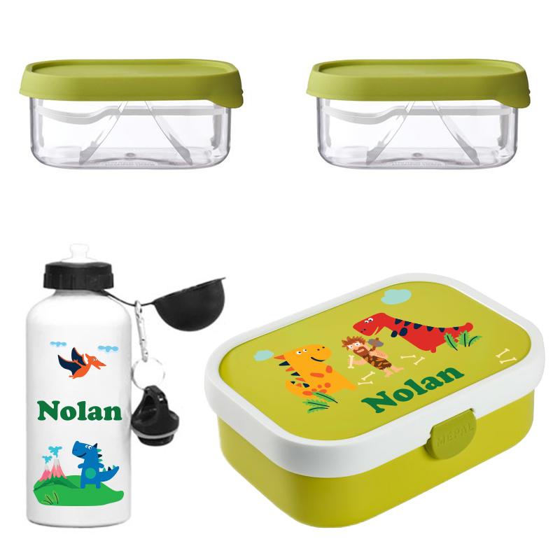 Mepal lunchbox, 2 x Mepal fruitbox en alu drinkfles 0,5l
