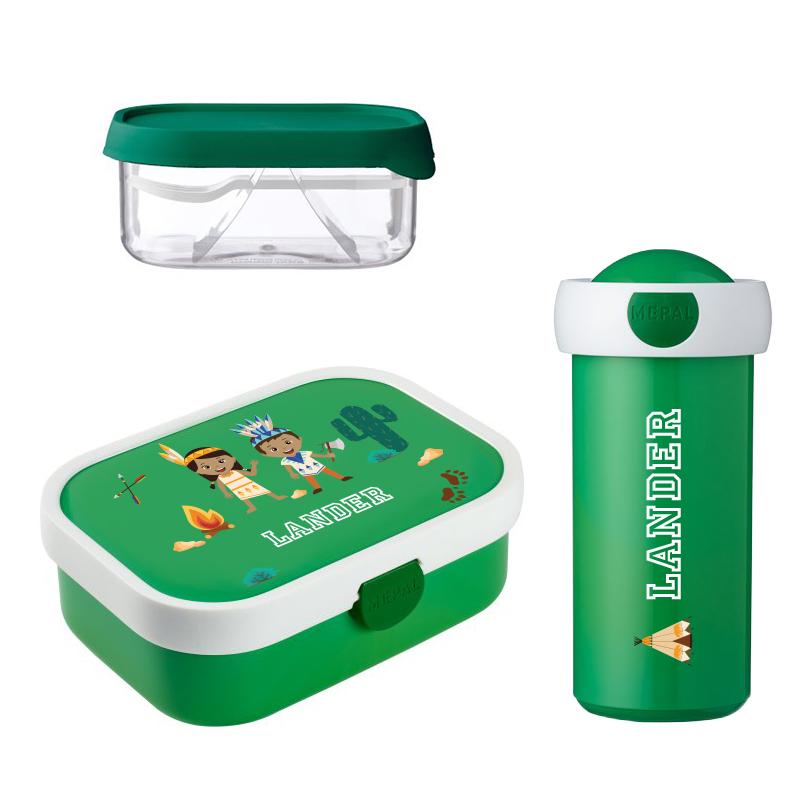Mepal lunchbox, fruitbox en drinkbeker met naam 0,3l.