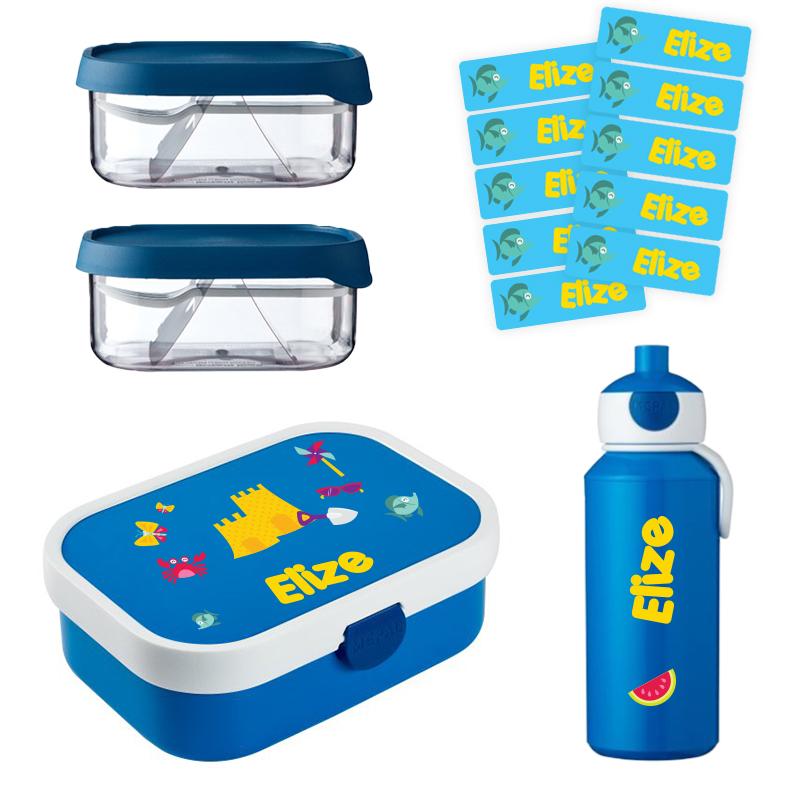 Mepal lunchbox , 2 x Mepal fruitbox en popup drinkfles met naam 0,4l + GRATIS 25 medium naamstickers