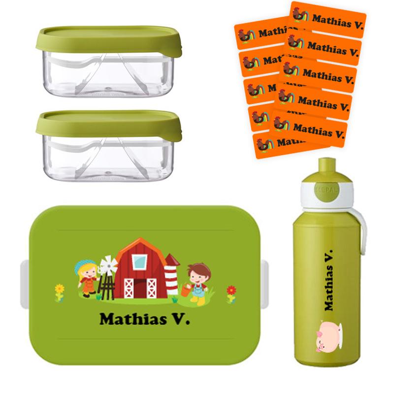 Mepal to go lunchbox midi (4 sneden), 2 x Mepal fruitbox en popup drinkfles met naam 0,4l + GRATIS 25 medium naamstickers