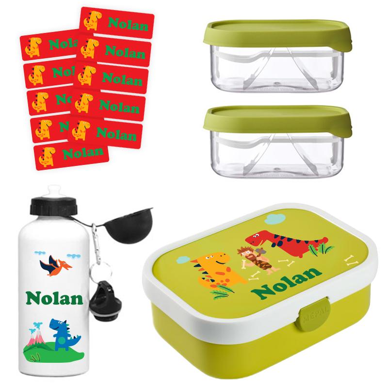 Mepal lunchbox, 2 x Mepal fruitbox en alu drinkfles 0,5l + GRATIS 25 medium naamstickers