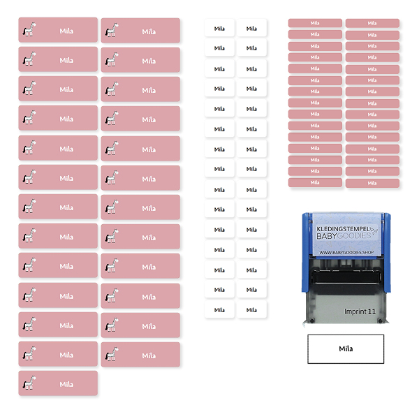 Triopakket 85 Naamstickers + Kledingstempel (medium, mini en textiellabels)