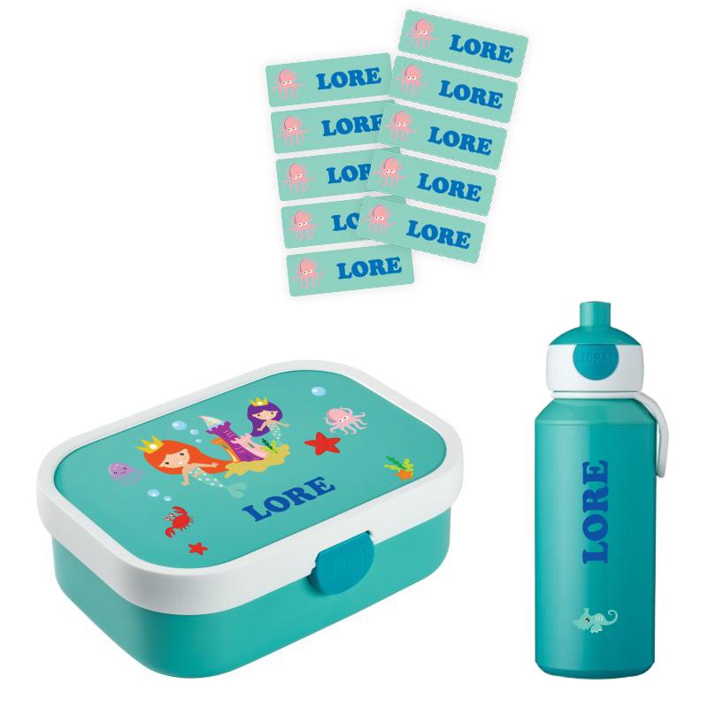 Mepal lunchbox  en popup drinkfles met naam 0,4l + GRATIS 25 medium naamstickers