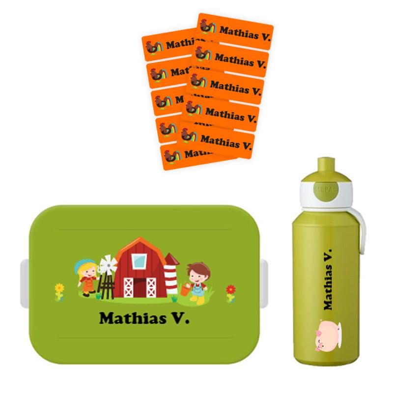 Mepal to go lunchbox midi (4 sneden) en popup drinkfles met naam 0,4l + GRATIS 25 medium naamstickers