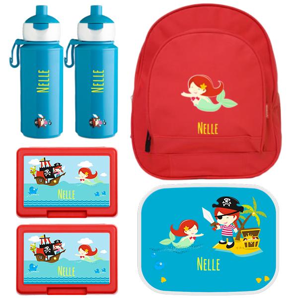 Rugzak kids + Mepal campus lunchbox (4 sneden), 2 x fruit/koekendoosje en 2 x popup drinkfles met naam 0,25l