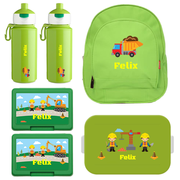 Rugzak kids + Mepal to go lunchbox midi (4 sneden), 2 x fruit/koekendoosje en 2 x popup drinkfles met naam 0,4l
