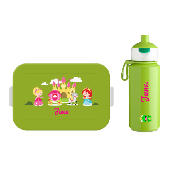 Mepal to go lunchbox midi (4 sneden brood) en popup drinkfles met naam 0,25l.