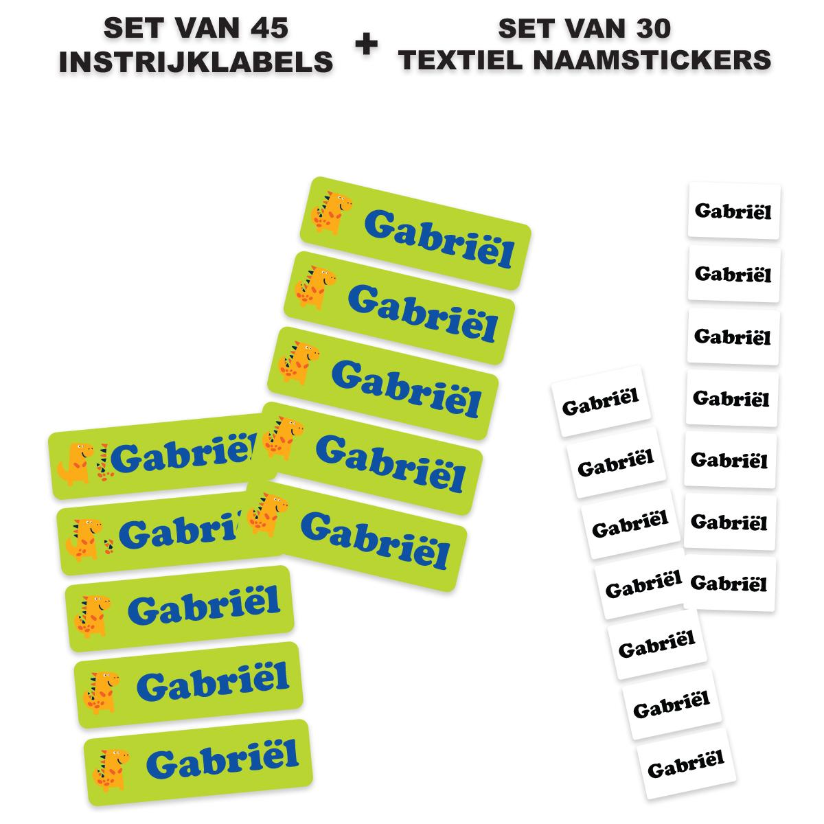 Instrijklabels met naam (45 stuks) + Textiel naamstickers (30 stuks)