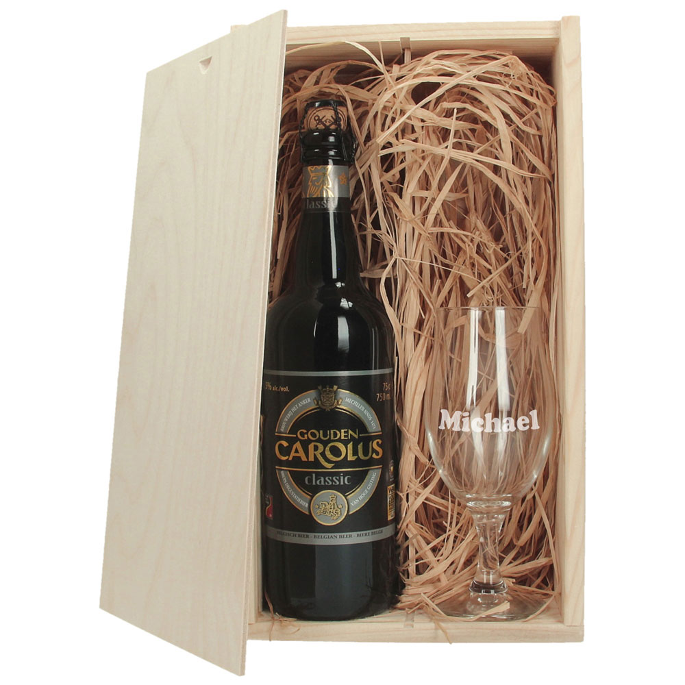 Bierpakket met gegraveerd glas - Carolus Classic