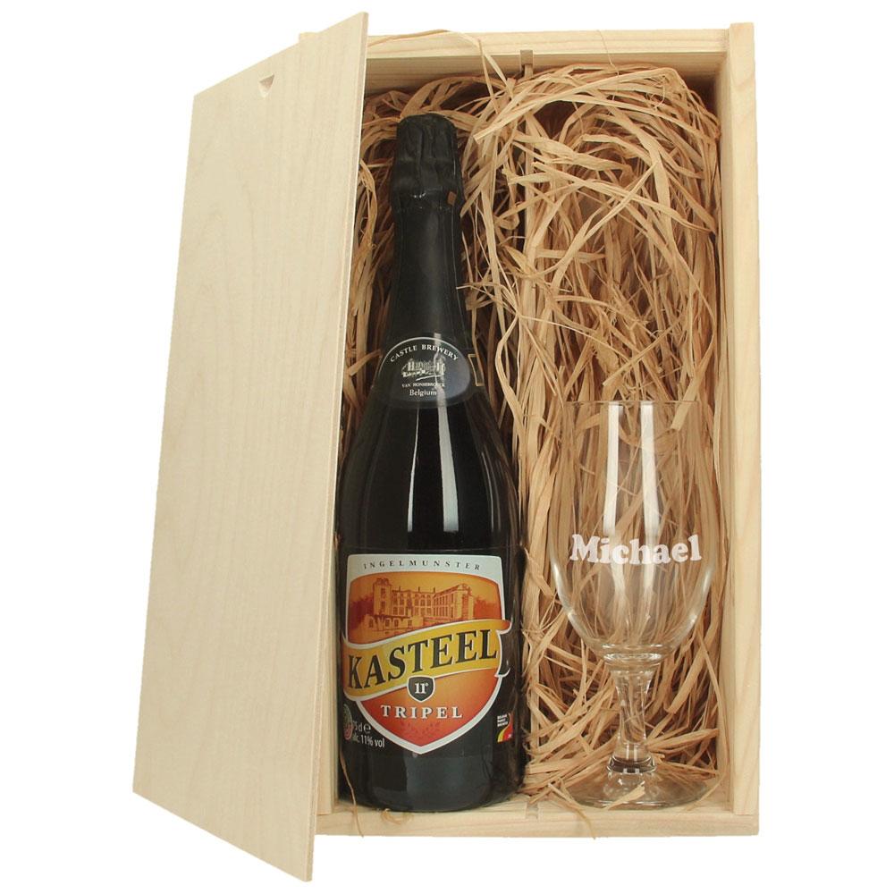 Coffre à bière avec verre à bière gravé - Kasteel Tripel