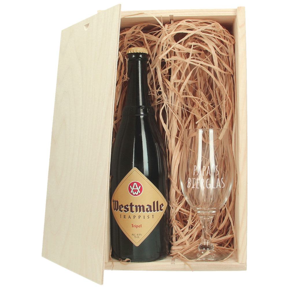 Coffre à bière avec verre à bière gravé - Westmalle Tripel