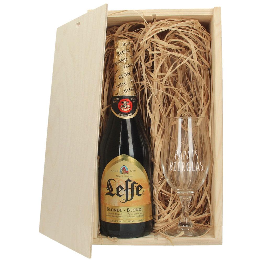 Bierpakket met gegraveerd glas - Leffe Blond