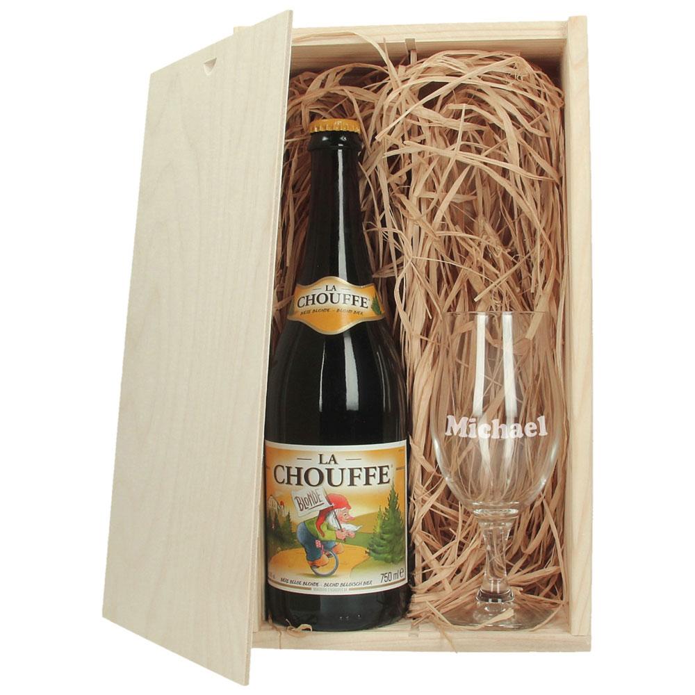 Coffre à bière avec verre à bière gravé - La Chouffe
