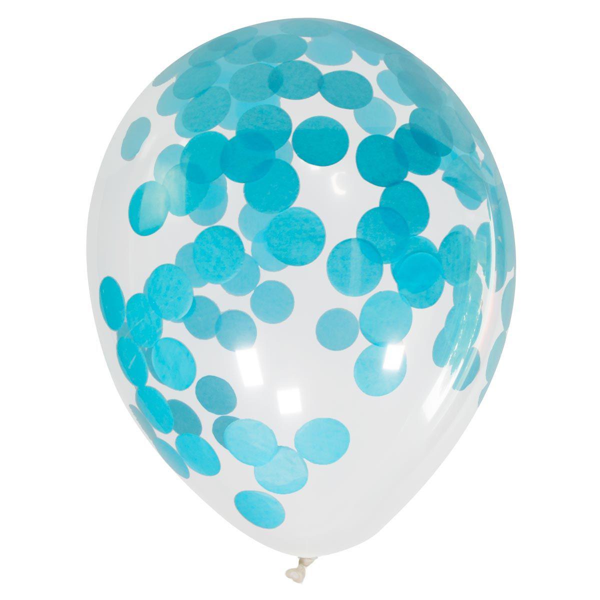 Set Van 4 Confettiballonnen Blauw
