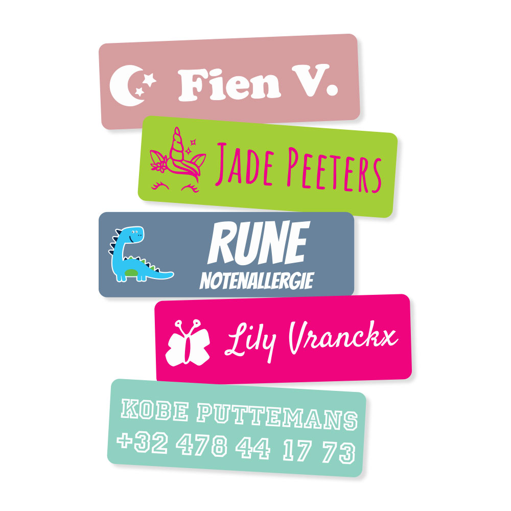 25 Medium Naamstickers (6 x 2 cm)