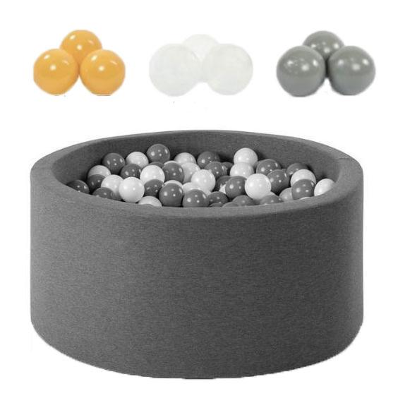 Piscine à balles rondes 90 cm avec 200 balles en Jaune , gris et transparant
