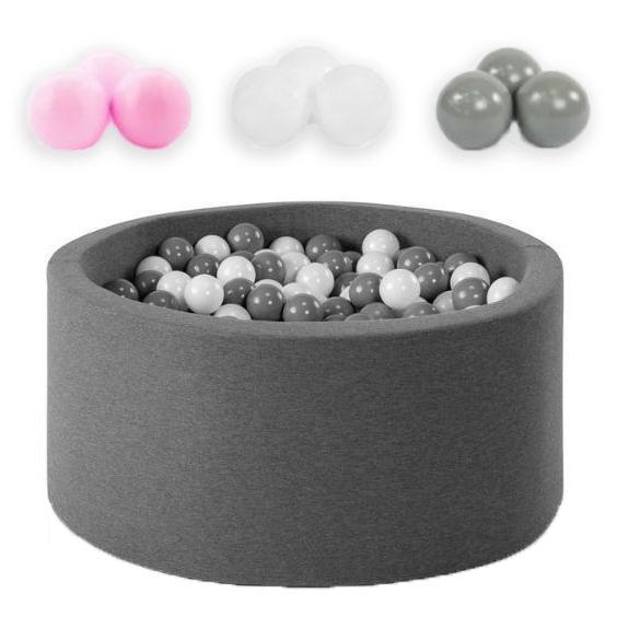 Piscine à balles rondes 90 cm avec 200 balles en Rose clair, Argent et Blanc