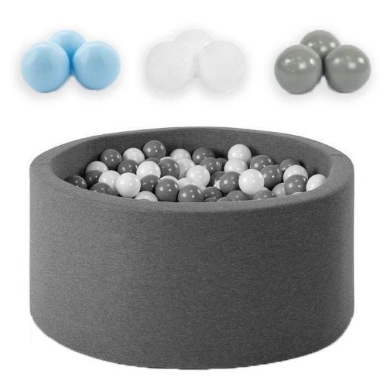 Piscine à balles rondes 90 cm avec 200 balles en Bleu clair, Argent et Blanc