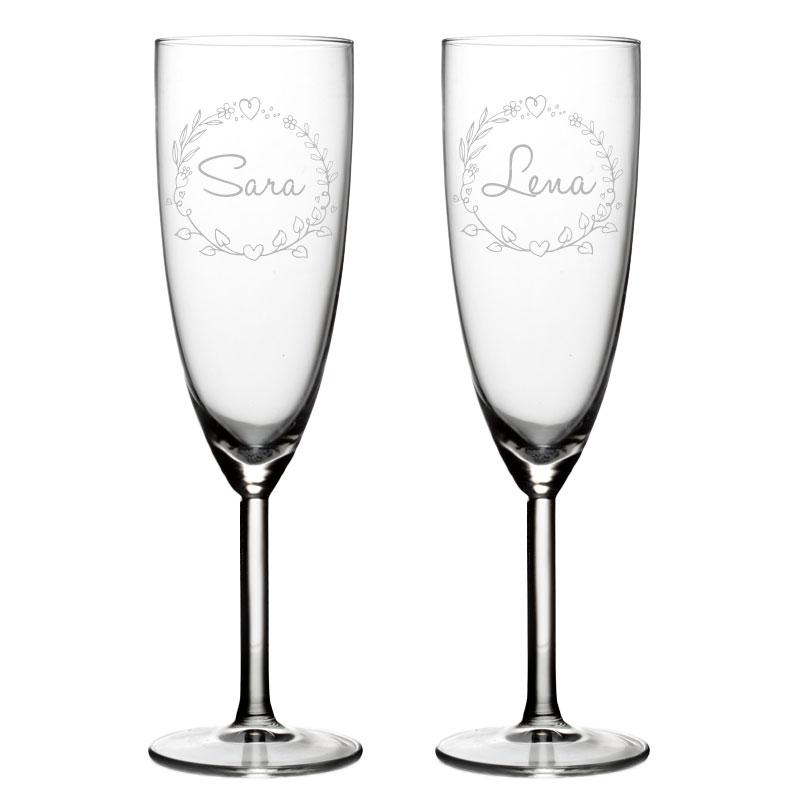 Set van 2 Champagneglazen met naam - Valentijn Design 3
