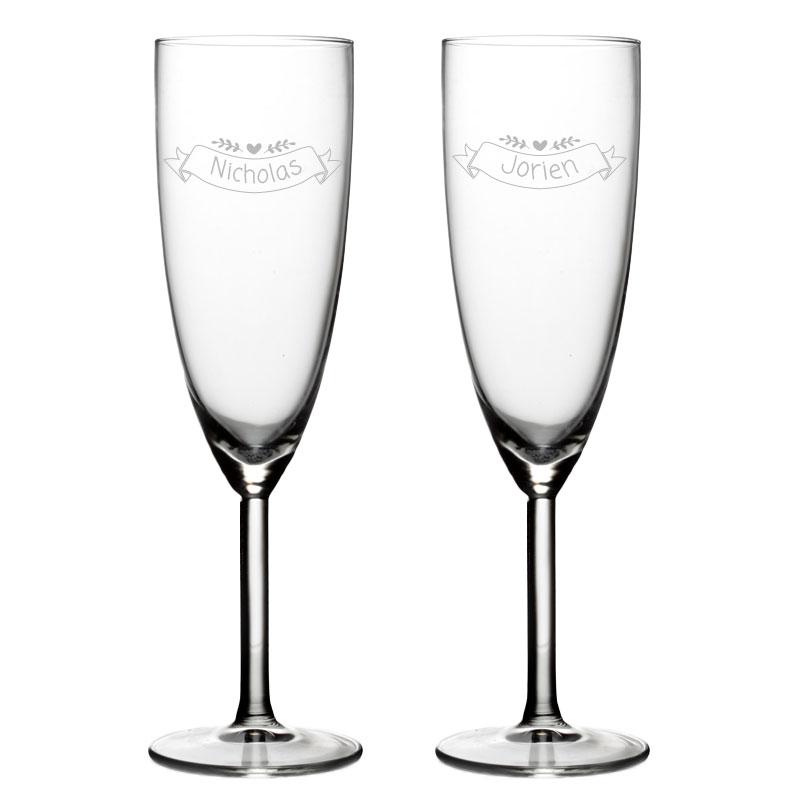 Set van 2 Champagneglazen met naam - Valentijn Design 4