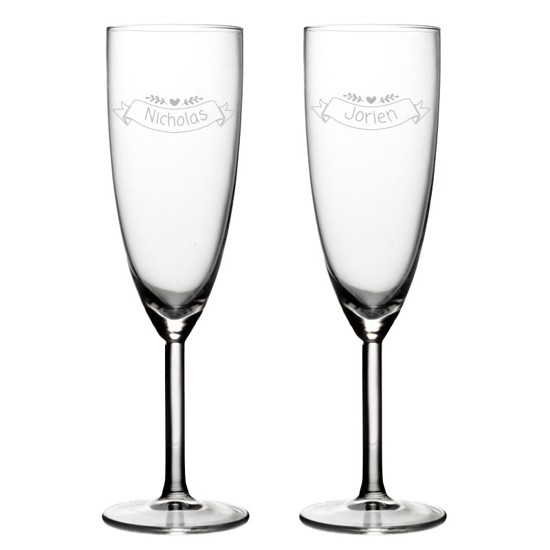 2 verres à champagne avec nom -  Valentin Design 4