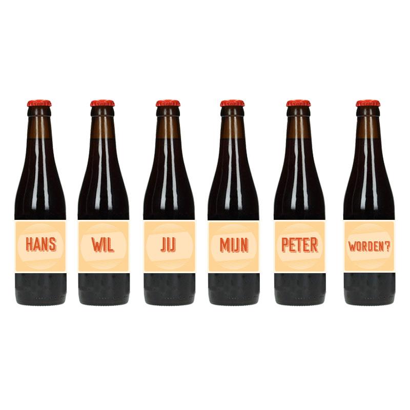 Bier Etiket - Wil jij mijn peter worden (Retro Geel)