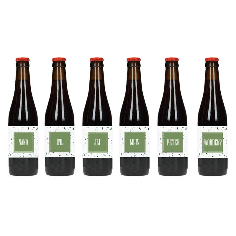 Bier Etiket - Wil jij mijn peter worden (Spikkels)