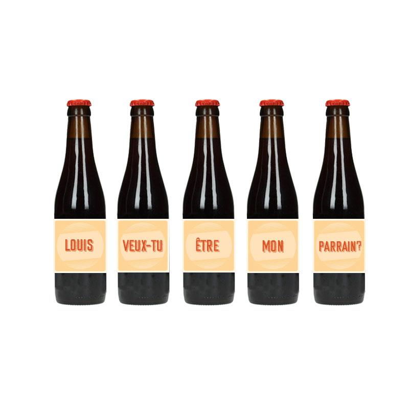 Étiquette de bière -Veux-tu être mon Parrain - Retro Jaune