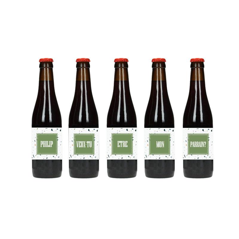 Étiquette de bière - Veux-tu être mon Parrain - Carré