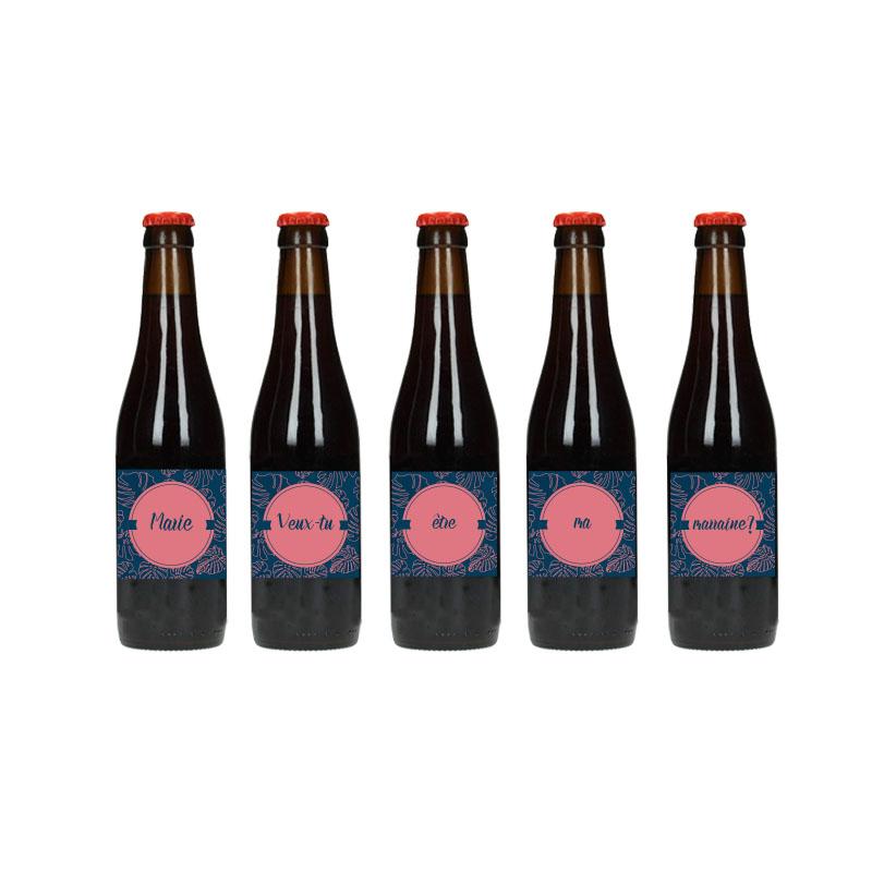 Étiquette de bière -Veux-tu être ma Marraine - Fleurs