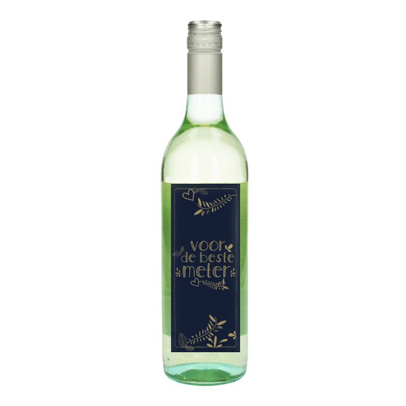 Wijnfles Wit met etiket - Voor de beste meter (Goud)