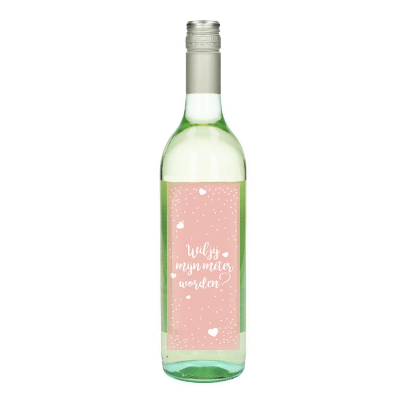 Wijnfles Wit met etiket - Wil jij mijn meter worden (Roze Hartjes)