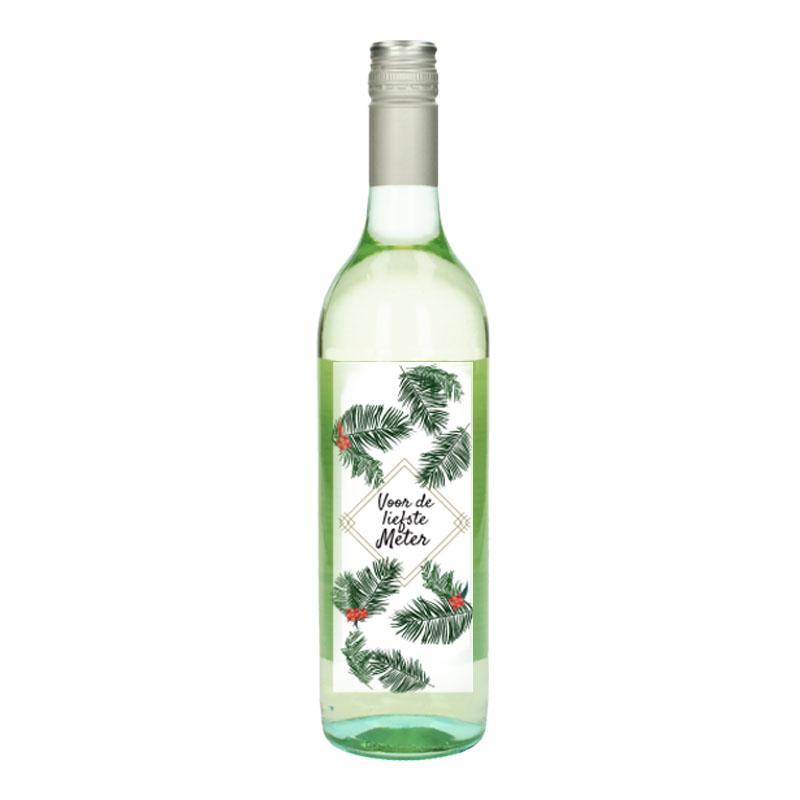 Wijnfles Wit met etiket -  Voor de liefste meter (Tropishe Bloemen)