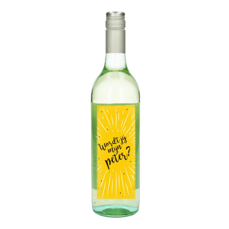 Wijnfles Wit met etiket -  Wordt jij mijn peter ( Geel)