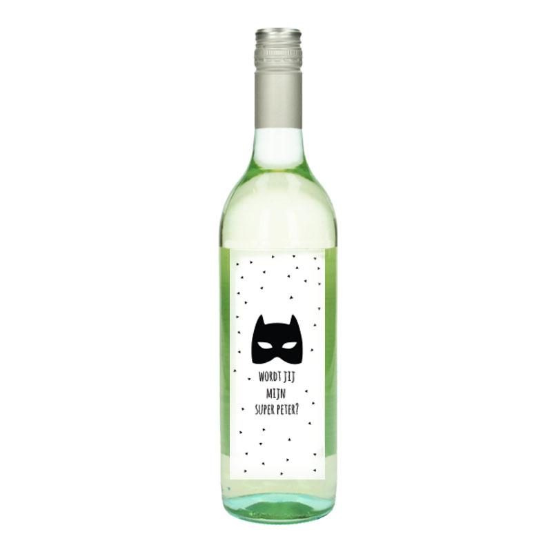 Wijnfles Wit met etiket -  Wordt jij mijn super peter (Masker)