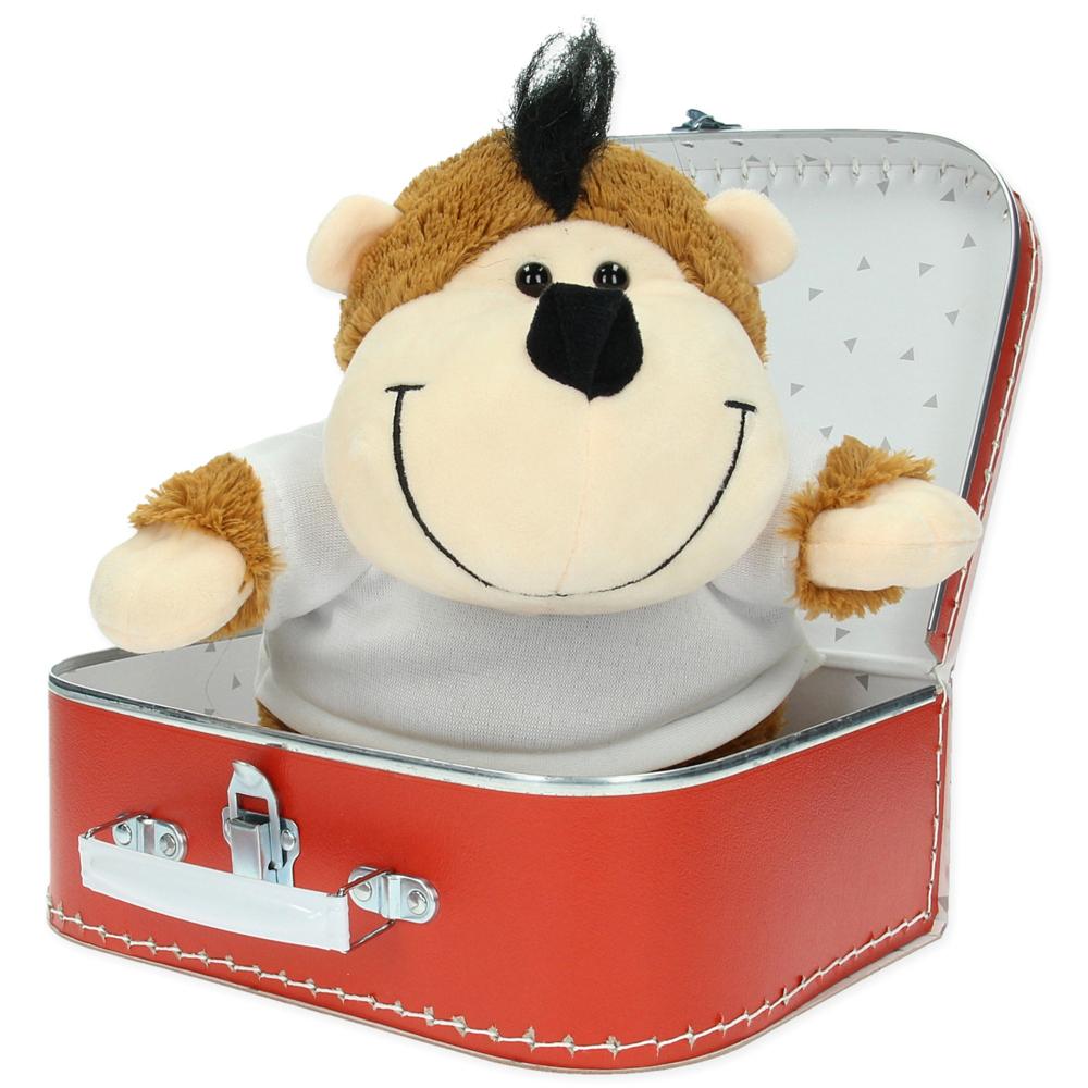 Gepersonaliseerd  cadeaupakket koffer met knuffel Louis de aap