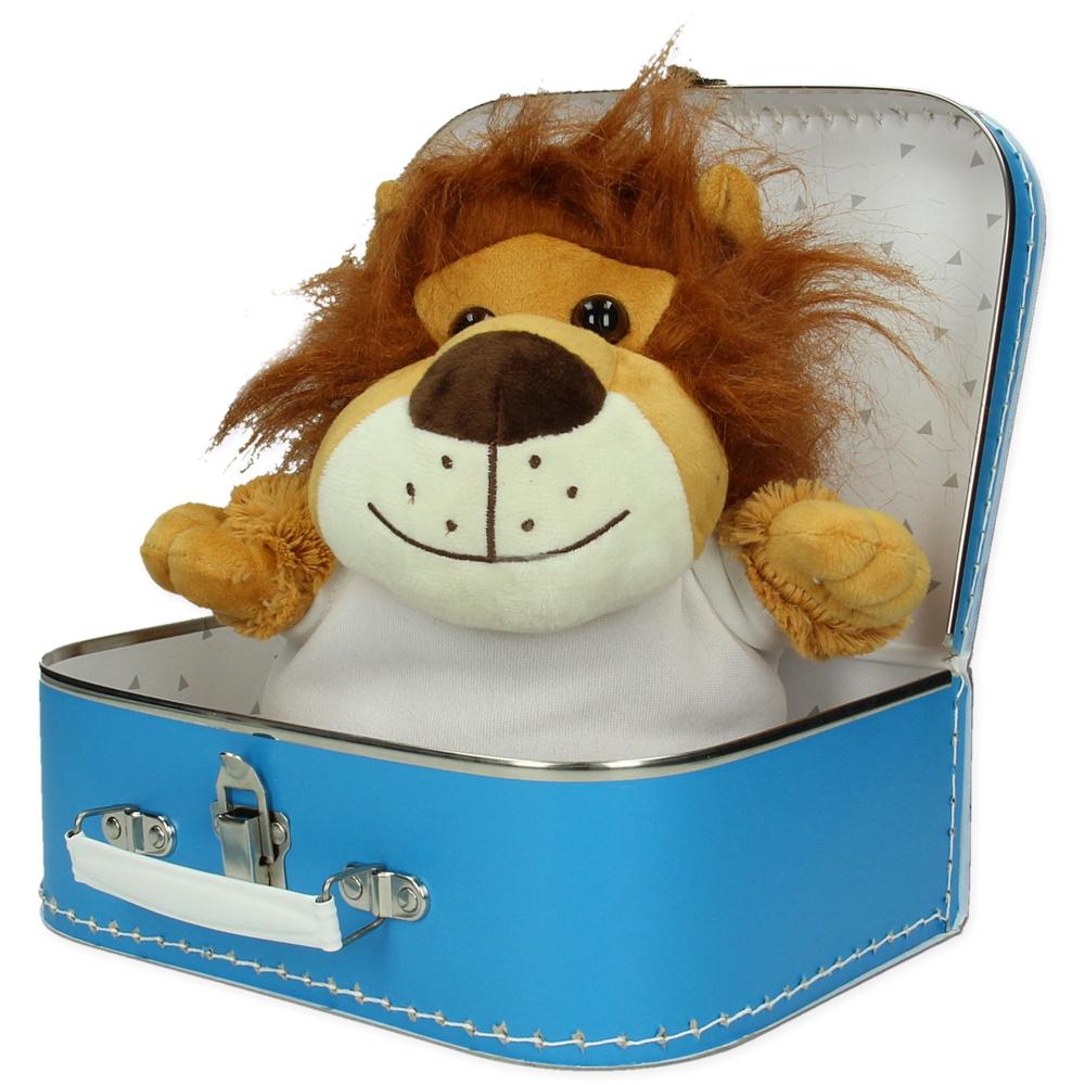 Gepersonaliseerd  cadeaupakket koffer met knuffel Lenny de leeuw