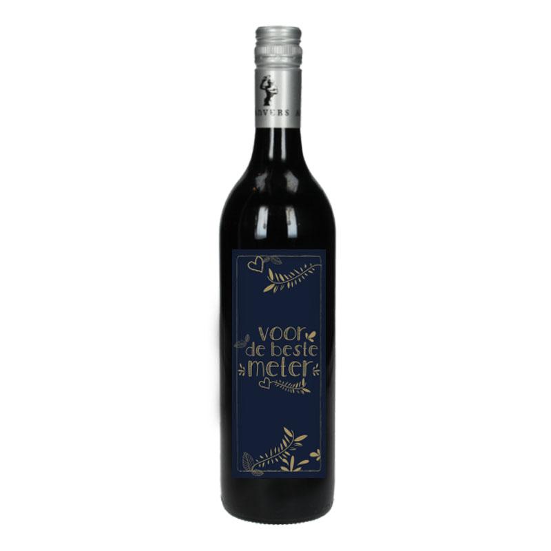 Wijnfles Rood met etiket - Voor de beste meter (Goud)