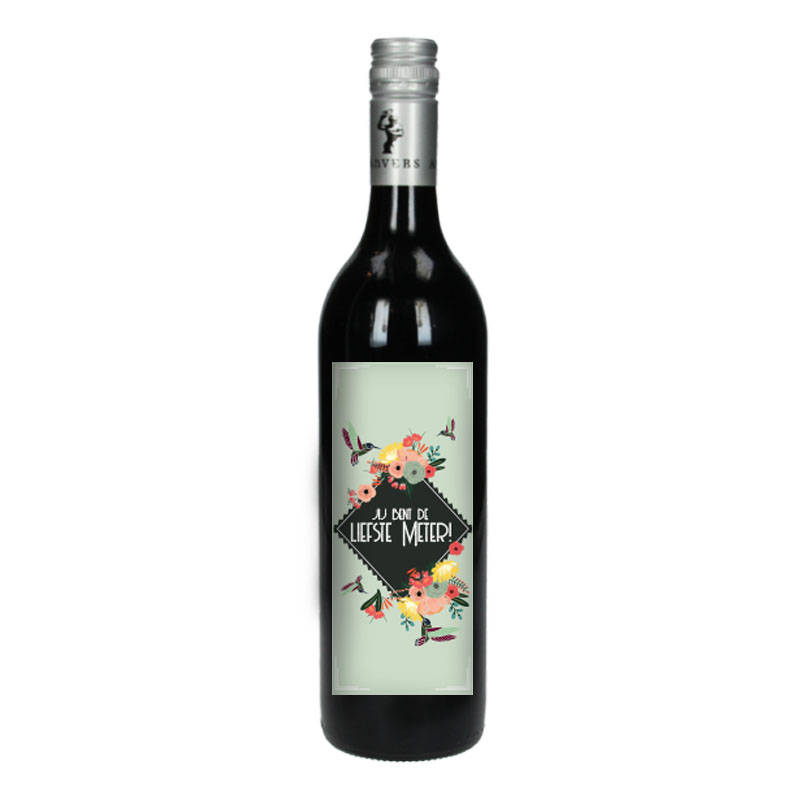 Wijnfles Rood met etiket -  Jij bent de liefste meter (Retro Bloemen)