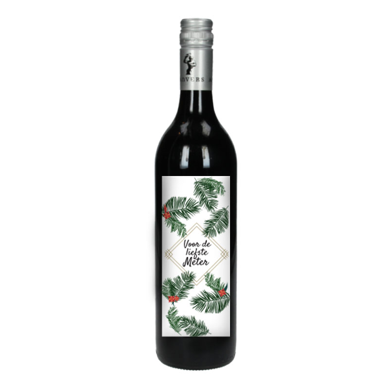 Wijnfles Rood met etiket - Voor de liefste meter (Tropische Bloemen)