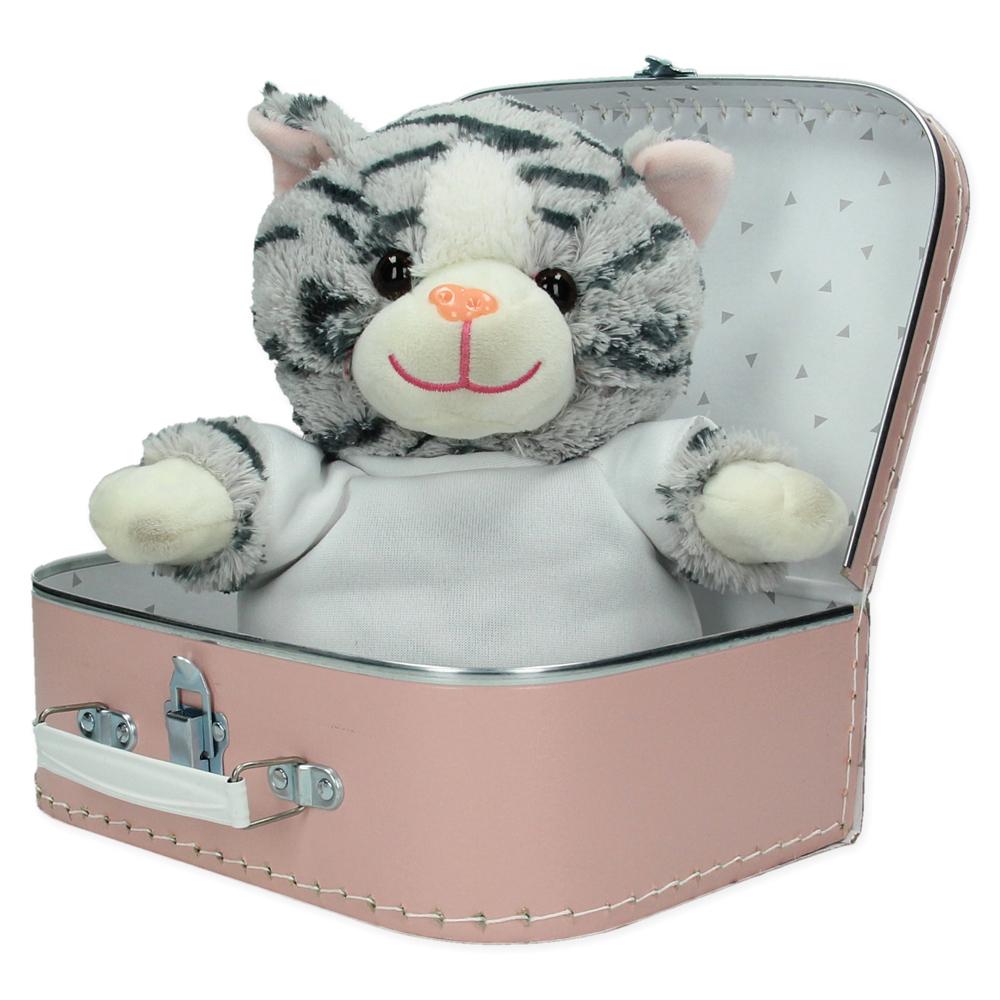 Gepersonaliseerd cadeaupakket koffer met knuffel Lily de poes