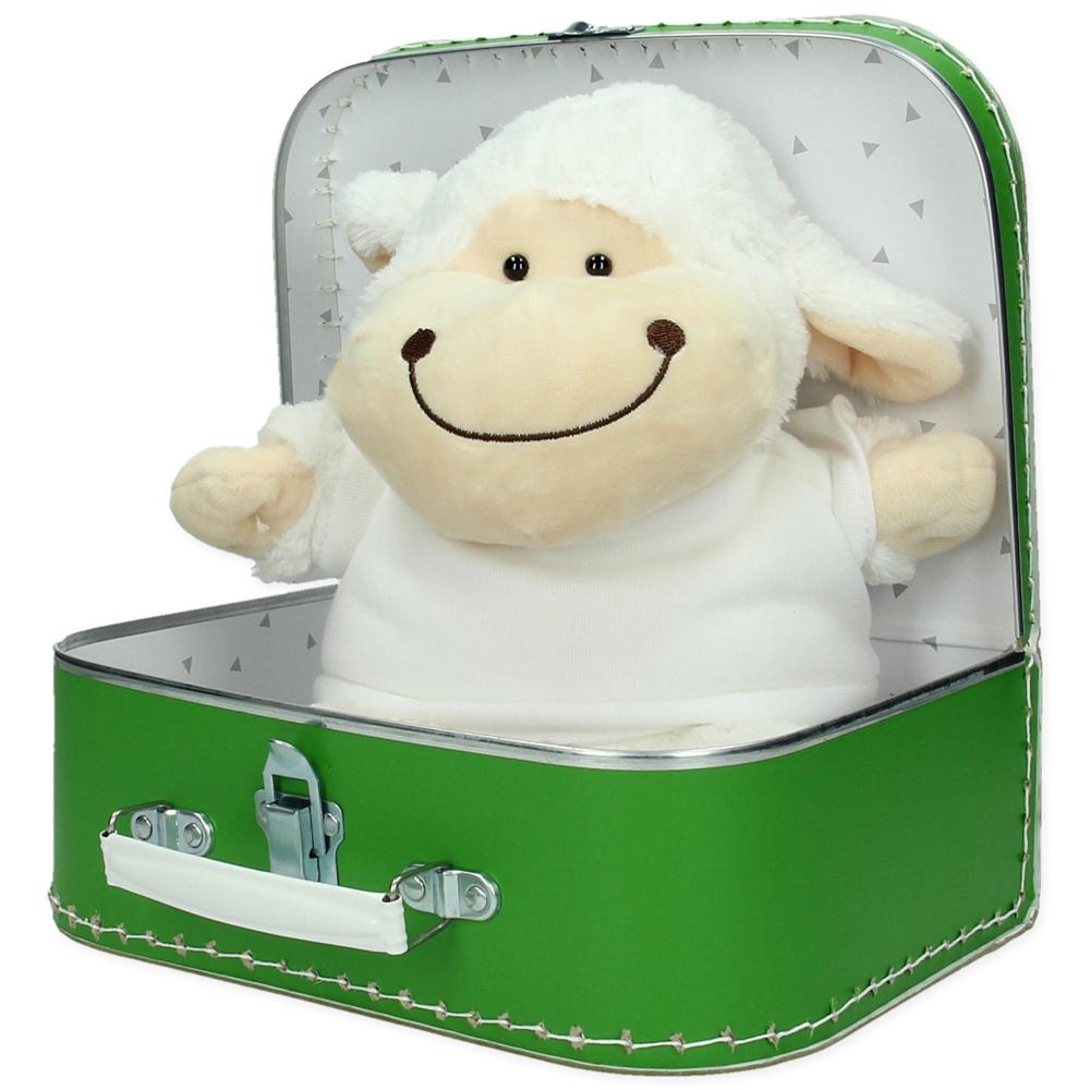 Gepersonaliseerd cadeaupakket koffer met knuffel Ollie het schaap