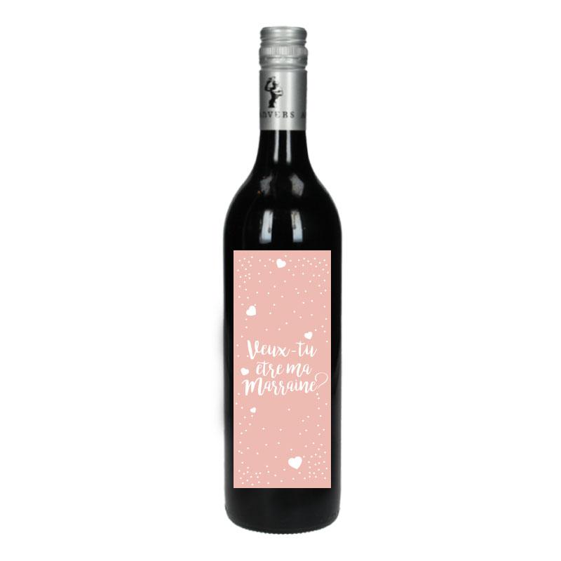 Bouteille de vin Rouge avec étiquette - Veux-tu être ma marraine (Rose Coeur)