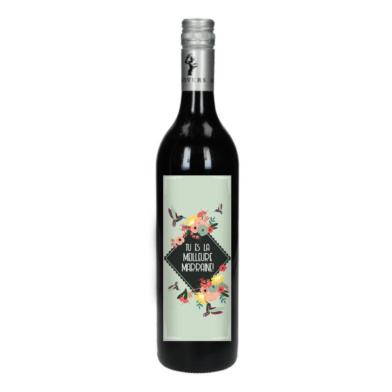 Bouteille de vin Rouge avec étiquette - Tu es la meilleure marraine  (Retro)