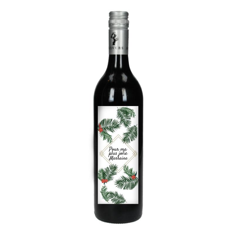 Bouteille de vin Rouge avec étiquette - Pour ma plus jolie marraine (Fleurs Tropicale)