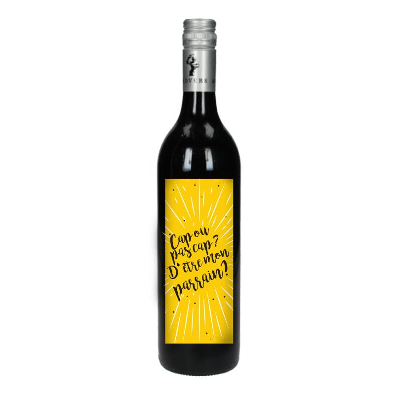 Bouteille de vin Rouge avec étiquette - Cap ou pas cap ? D'être mon parrain (Jaune)